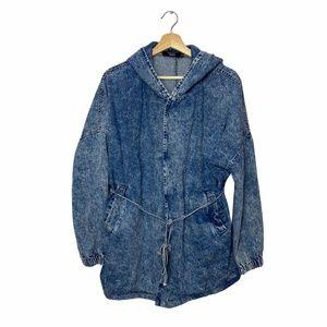 Vintage Acid Wash Denim Trench Coat Jacket Size L